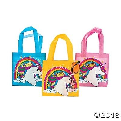 12 Colorful UNICORN Pony Rainbow Birthday Party Favor Goody Treat Tote Bags (Unicorn Rainbows)