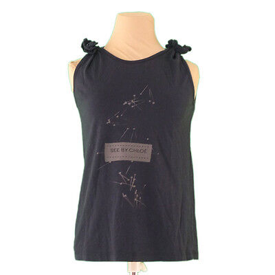 Auth SEE BY CHLOE Tank Top Shoulder Ribbon Womens used L1236