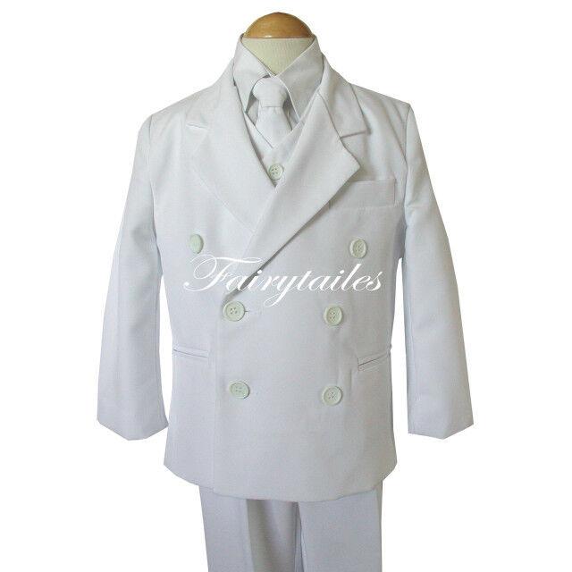 Boy White Double Breasted Tuxedo Communion Dress Suit