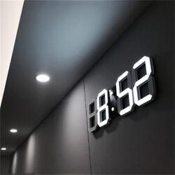 Large Digital LED Wall Clock Modern 3D 12/24 Hour Display Snooze Alarm Clock 5V