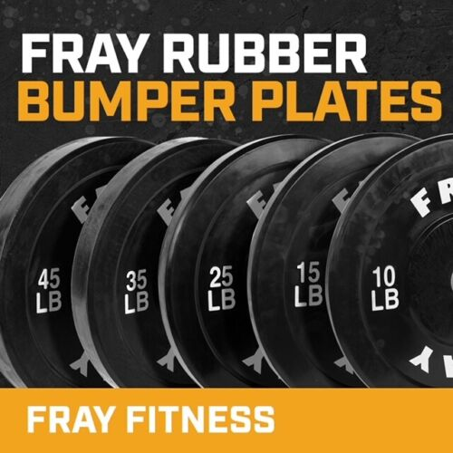 Fray Fitness Olympic Rubber Bumper Weight Plates Plate 10/15/25/35/45 lbs