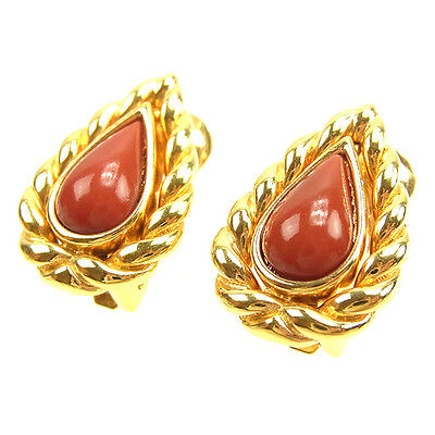 Dior Earrings Red Gold Woman Authentic Used T1137
