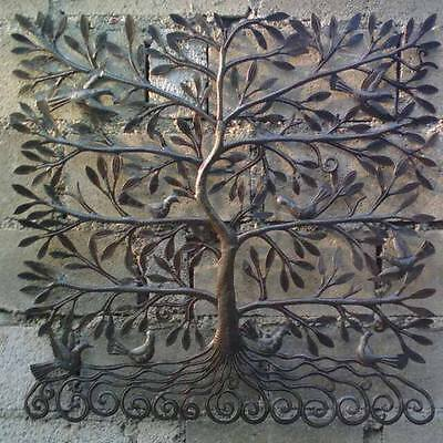 Metal Tree of Life with Leaves and Birds Haitian Metal Artwork For...