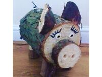 Solid wooden pig garden ornament