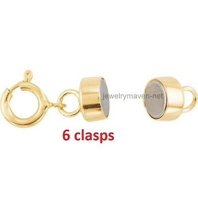 6 pcs 14k MAGNETIC CLASP Converter Yellow SOLID Gold Bracelet Necklace 4.5mm USA