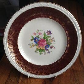 Burslem Midwinter Porcelain Plate - Floral Design - 25.5cm diameter