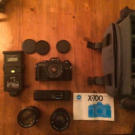 Minolta x-700 Film Camera Set, three lenses and bag
