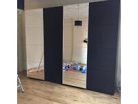 NEW! HUGE! (3.0m wide x 2.36m high) SLIDING MIRROR DOOR WARDROBE, LIKE NEW, IKEA (EASY TO ASSEMBLE)