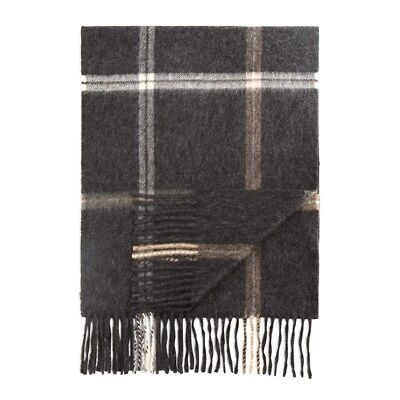 EUC $118 Men 100% Cashmere PLAID WINDOWPANE Scarf Bloomingdale's Sold Out Rare