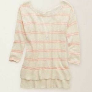 AMERICAN EAGLE STRIPED SWEATER WITH CROSS-BACK DETAIL!