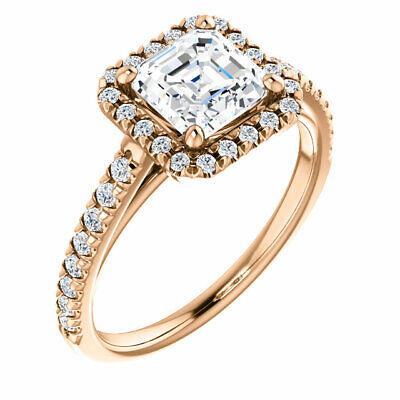 1.90 Ct. Asscher Cut Halo Round Diamond 14K Gold Engagement Ring Set D,VS1 GIA 3