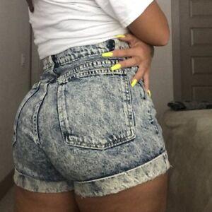 American Apparel Black Acid Wash Shorts