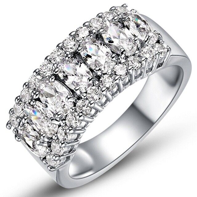 White Sapphire Silver Wedding Band Ring 18K White Gold Filled Jewelry Size 6-9 CZ, Moissanite & Simulated