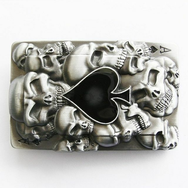 Ace of Spades w/ Skulls Poker Card Metal Belt Buckle
