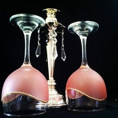 Set of 2 Art Work Wine Glass Frosted Pink and Gold Dishwasher Safe In Top Rack