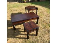 Coffee Table in polished dark wood. Also matching nest of two dark wood tables. All good condition