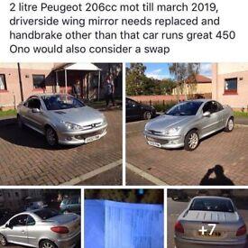 Peugeot 206 cc 2 litre convertible