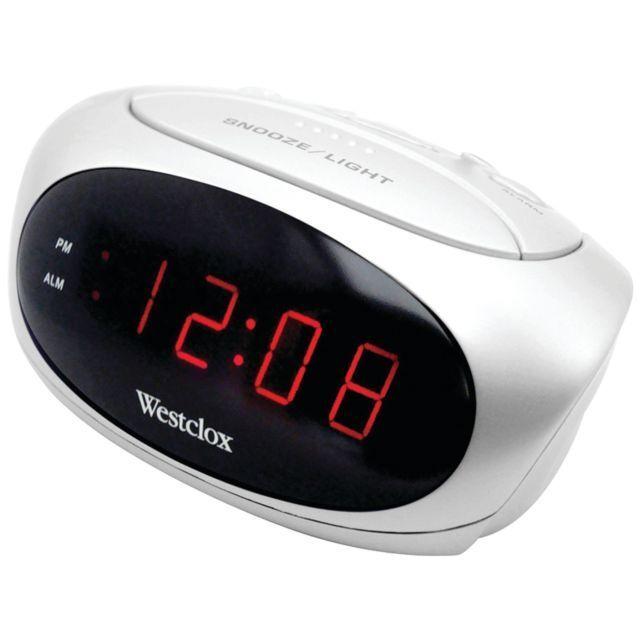 "Westclox 70044b 6"" LED (White) Alarm Clock with Adjustable Alarm Volume"