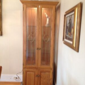 DISPLAY CABINET - fruitwood with glass in doors & interior light