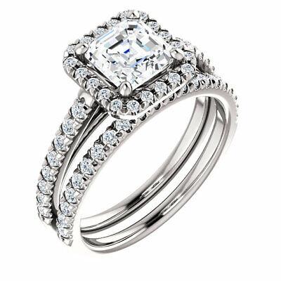 1.90 Ct. Asscher Cut Halo Round Diamond 14K Gold Engagement Ring Set D,VS1 GIA