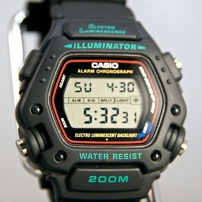 Casio Dw290 1V Mens Black Classic 200M Sports Watch Alarm Chronograph Dw 290