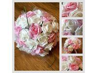 Beautiful Wedding Flowers Bouquet Vintage Foam Roses Tulle Diamontes