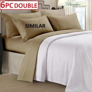 NEW BAMBOO 6PC BED SHEET SET DOUBLE HA-1114D 223496763 HOME LUXURY 6800 SERIES DEEP POCKET WRINKLE FREE BEDDING BEDROOM