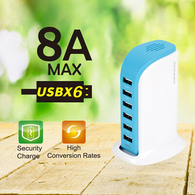 40W Multi 6 Port USB Charger 8A Fast Charging Station...