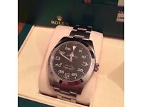 rolex air king 2016 sapphire glass brushed steel strap rolex boxed cards and papers