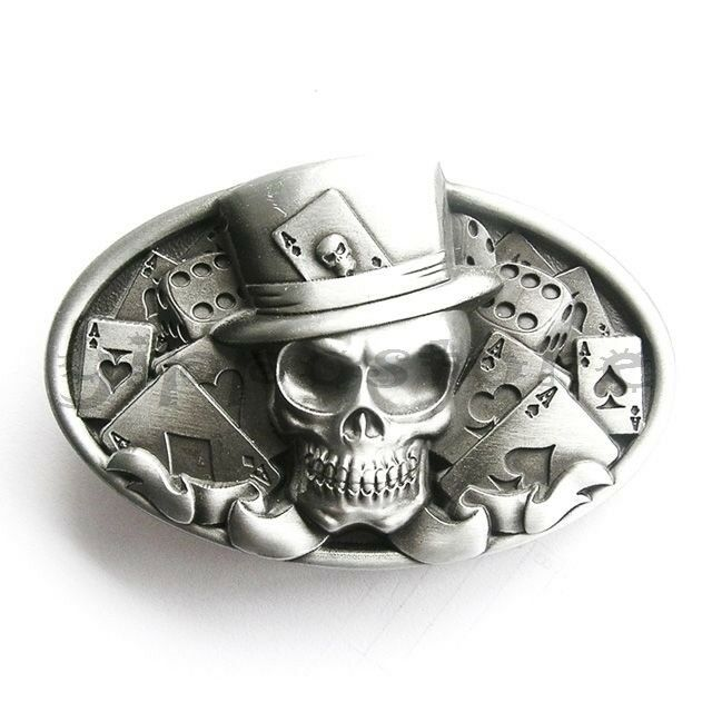 Skull Poker Casino Dice Metal Fashion Belt Buckle