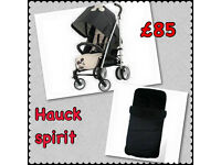 EXDISPLAY HAUCK SPIRIT PRAM PUSHCHAIR BUGGY STROLLER IN MICKEY MOUSE DESIGN WITH COSYTOES & RAINCVER