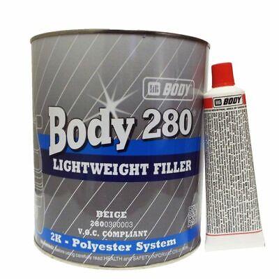 HB Body 280 Easy Sand Ultra Light Car Body Filler 3LT & Hardener VOC Compliant