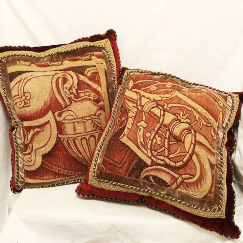 Pair Luxurious Neoclassic Design LARGE Aubusson Pillows