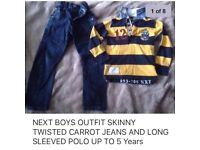 BOYS up to 5 Years OUTFIT NEXT SKINNY TWISTED JEANS AND LONG SLEEVES TOP