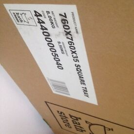 Brand New Bathstore 760 x 760 x 35mm White Square Shower Tray