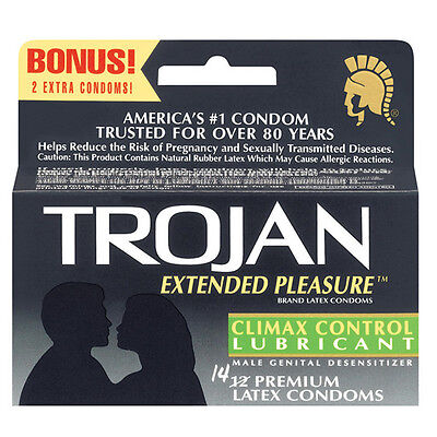 Trojan Extended Pleasure Condoms with Climax Control Lubricant FREE Shipping Control Lubricated Latex Condoms