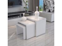 3 piece set of white coffee tables