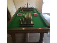 Stunning Hubble & Freeman Full Size Pool Table with Dowsing Iron, Riley Score Board, Cues & More