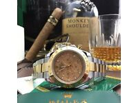 Gold face Rolex Daytona with TwoTone Strap comes Rolex Bagged And Boxed With Paperwork