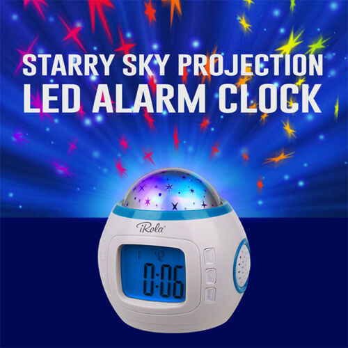 Music LED Star Projector Night light Digital Alarm Clock Thermometer Calendar US