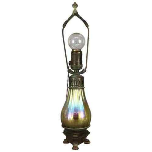 Antique Tiffany School Favrile Art Glass and Bronze Lamp Base, circa 1920