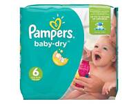 8 Large packs of size 6 Pampers Nappies