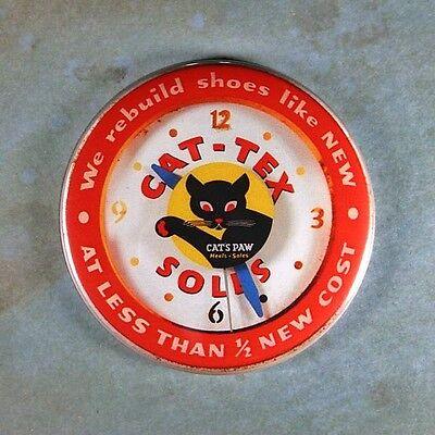 "Vintage Advertising Clock Fridge Magnet 2 1/4"" Cat Tex Cats Paw Soles Black Cat"