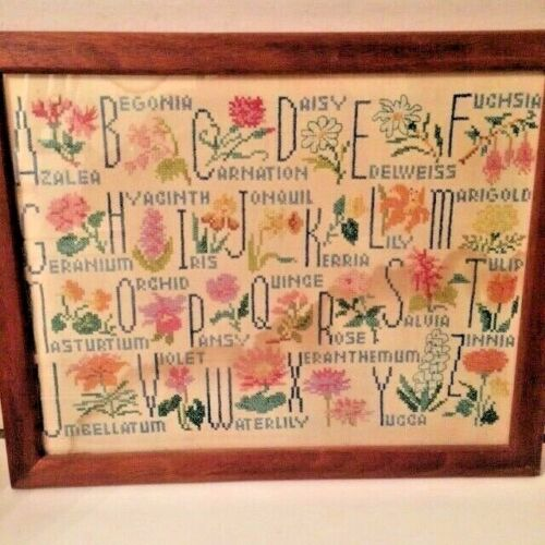 Vintage Framed Needlepoint Sampler w/Names of Flowers Alphabet Floral Home Decor