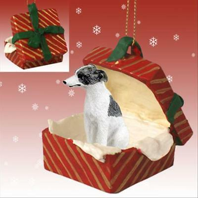 Whippet Gray White Dog RED Gift Box Holiday Christmas - White Whippet Ornaments