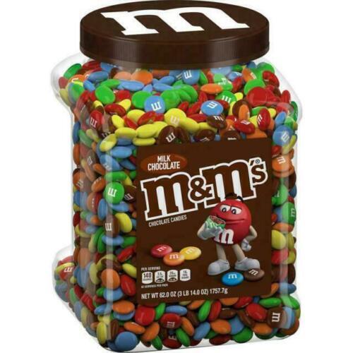 M&Ms Plain Milk Chocolate Candy Pantry Size 62oz Jar M&M