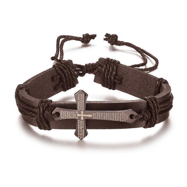 Jesus Cross Wrap Multilayer Leather Bracelet Braided Rope Men/'s Fashion Jewelry