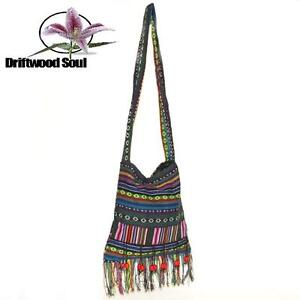 Tibetan Style Bag with Long Shoulder Straps - New Age Hippy Boho Ethnic Beach