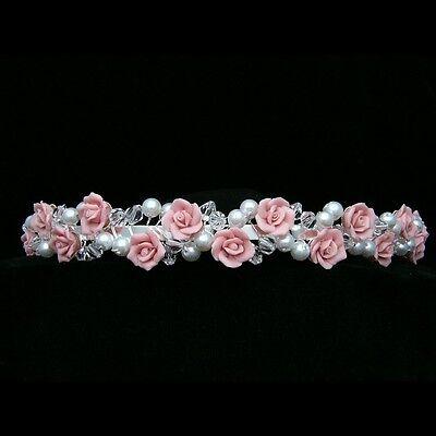 Lovely Pink Roses Bridal Crystal Pearl Prom Wedding Tiara Headband 7349 - Pink Tiara