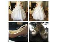 Satin Communion dress package Including dress, jacket, lace shoes size 1 and satin veil